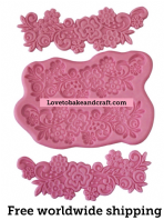 Flower mold, Silicone flower spray mold, Flower mould, Fondant flowers for wedding cakes, free worldwide shipping